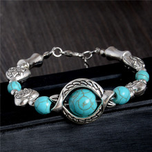 Wholesale 1pc New Bohemian 24cm Hot Heart Design Wonderful Lady Woman Turquoise Bracelet(China (Mainland))