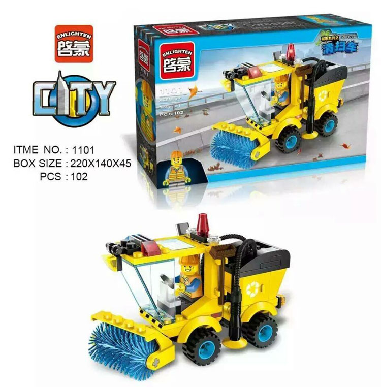 ENLIGHTEN 1101 New Sweeping Cars Road Sweeper City series Set Building Brick Block Educational Minifigure Boy Toy(China (Mainland))