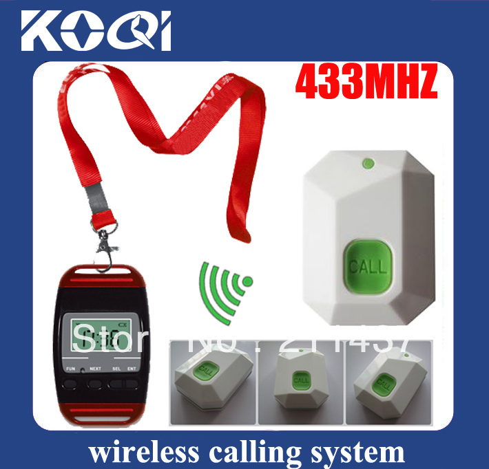 433.92mhz nurse call bell of 3 wrist pagers with 45 Call bells digital call bells Freeship by EMS/DHL(China (Mainland))