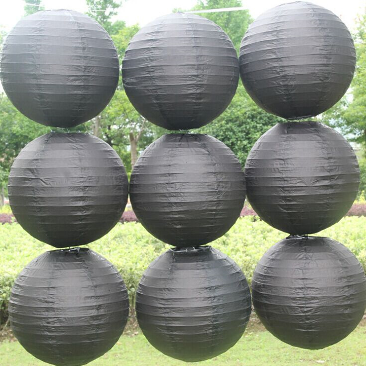 Free shipping 10pcs/lot 12''(30cm) Round paper lantern Black paper lantern lamps festival wedding decoration party lanterns