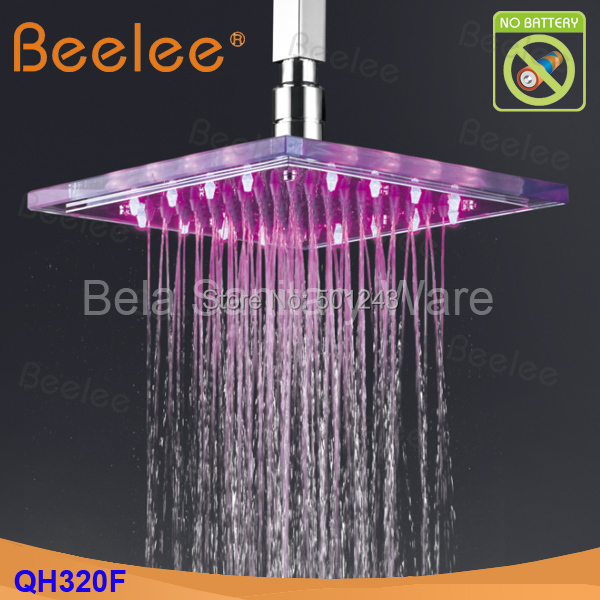 """Free Shipping+Water Powered 9""""*9""""  LED Glass Waterfall Rain Shower Head with 20cm Brass Shower Arm (QH320F)"""