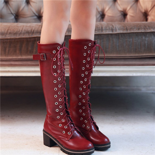 2015 Autumn Winter Womens Punk Buckle Chunky Thick Mid Heel Lace Knee High Military Motocycle Riding Boots Female Shoes