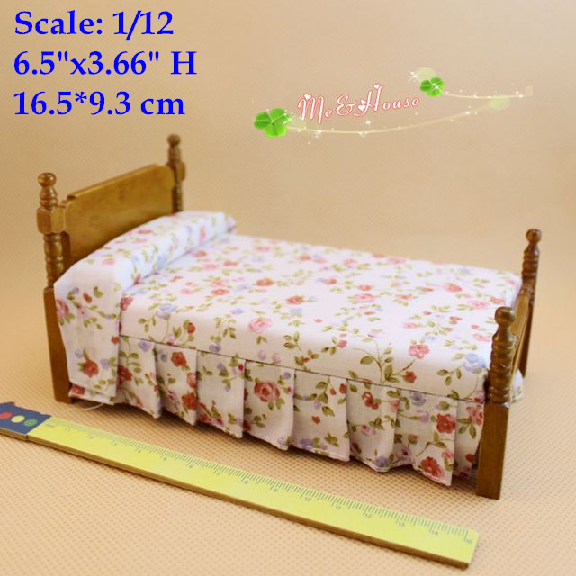 1:12 Dollhouse Miniatures Wood Single Bed Doll House Furniture(China (Mainland))