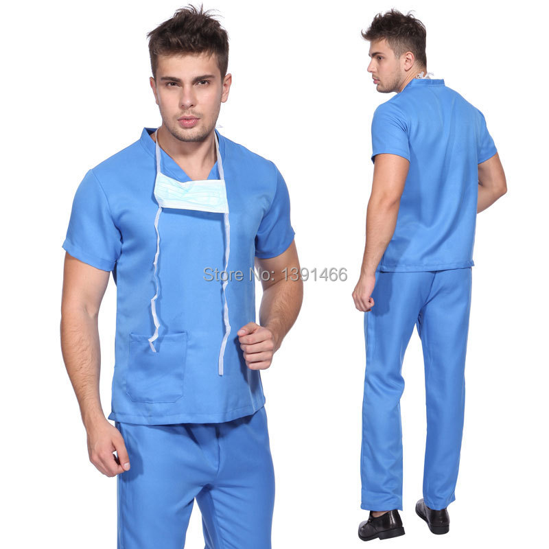 Mens Hospital Doctor Nurse Costume Outfit Scrub Top Pants Fancy Dress Up Outfit Uniform(China (Mainland))