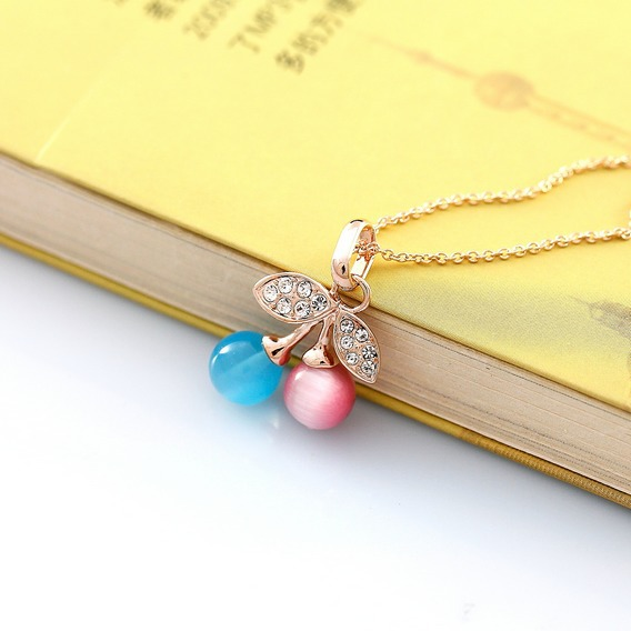 Lovely Opal Crystals Paved Cherry Charm Necklace Long Gold Link Chain 5CM Extended Link Ended For Women Daily Wearing FJ0063(China (Mainland))