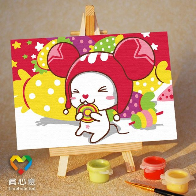 Diy digital oil painting cartoon oil painting mini painting colored drawing - sugar 10 15 belt easel