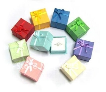 Free shipping 120 pcs mixed colors cheap price silver jewelry rings paper boxes gift packaging box ring holder casket wholesale