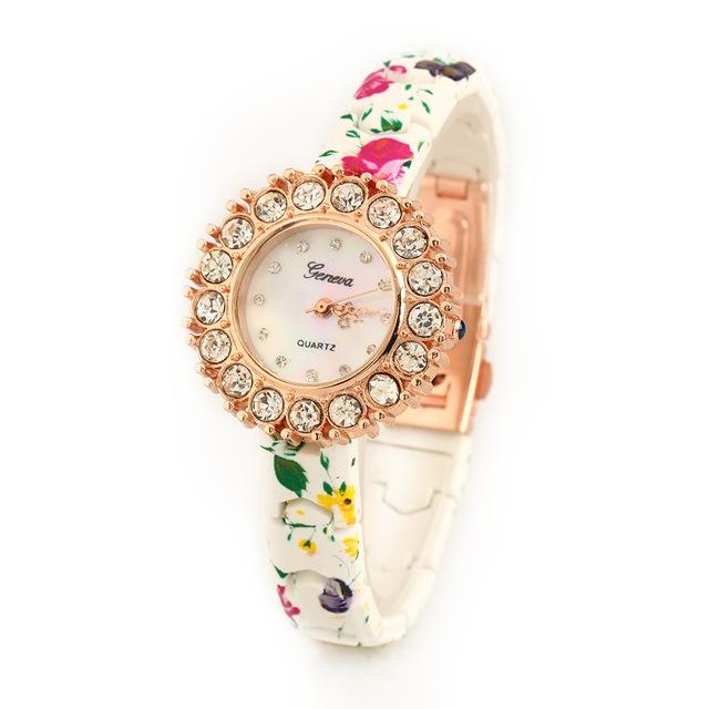 2016 популярных роскошный цуй цветок meimei женева силиконовые женщины часы мода досуг кварцевые часы из запястье алмазы браслет