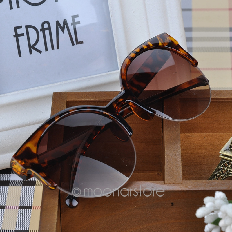 Vintage Retro Cat Eye Round Sunglasses Fashion Stylish Semi-Rim Eyewear Eyeglasses MPJ093#A1 - Allideal CO. LTD store
