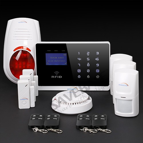HOMSECUR Support EN / RU voice APP Controlled Wireless GSM Home Security Alarm System, Smoke Sensor, Touch Panel,(China (Mainland))