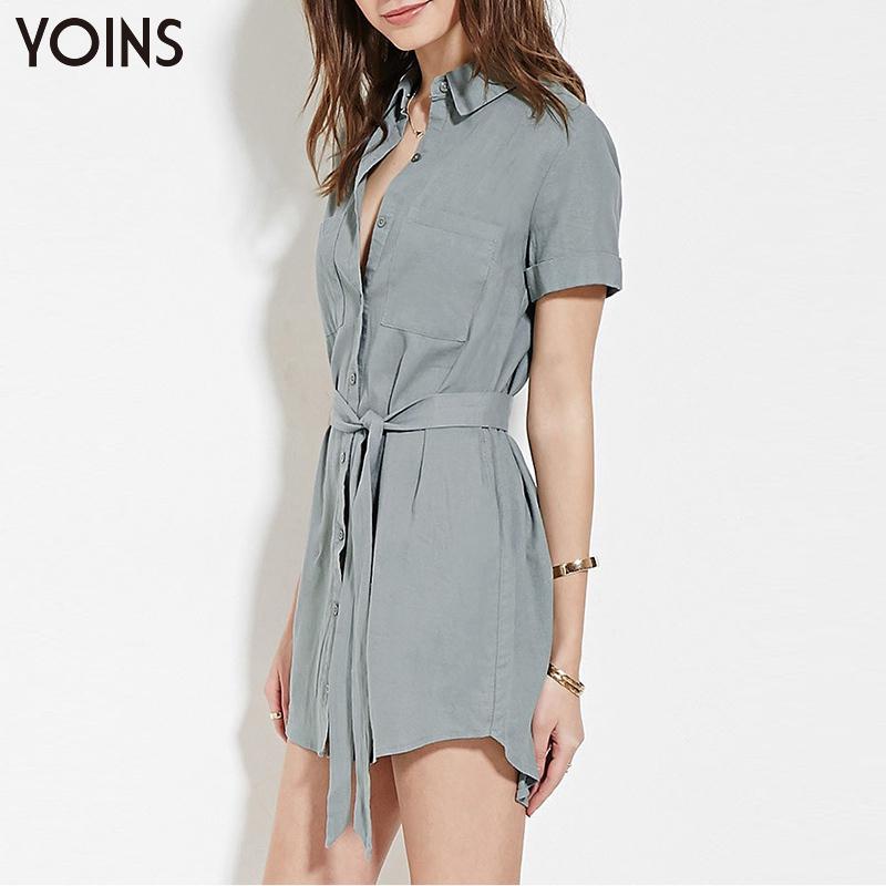 YOINS New 2016 Women Fashion Slim Shirt Dress Short Sleeve Single Breasted Lapel Casual Mini Dress with Drawstring Office Wear(China (Mainland))
