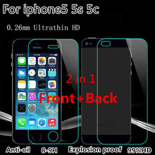 2 pcs/lot Front + Back 9H Premium Tempered Glass for iPhone 5 5s 5c Anti-scratch 0.26mm 2.5D Arc Edge Screen Protector Film