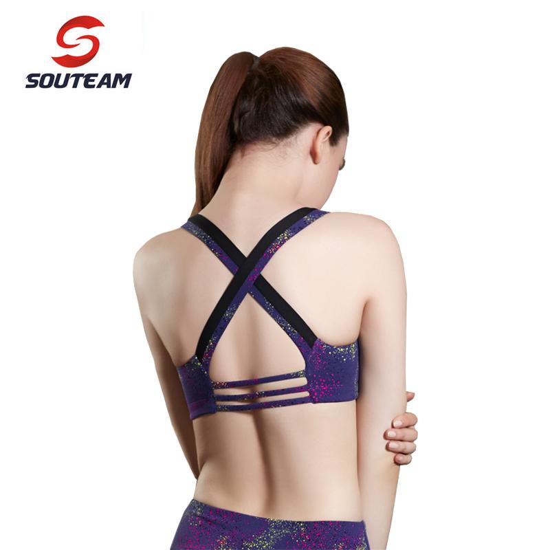 SOUTEAM New 2016 Summer Brand Yoga Bras For Women Sexy Fitness Comfortable Breathable Purple Brazilian Sports Bra #ST160037-MTFX(China (Mainland))