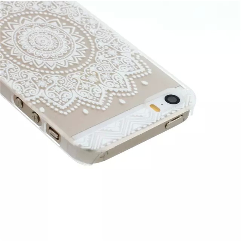 Hot Sales Hard PC Ultrathin Painted Pattern Flower Case for iphone 5c Caso Henna White Floral Paisley Flower Mandala Coque 30