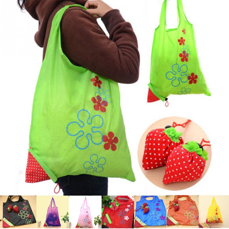 8 colors New Special Shopping Bags strawberry shape after fold-able Eco shopping storage bag Load-bearing about 20kg