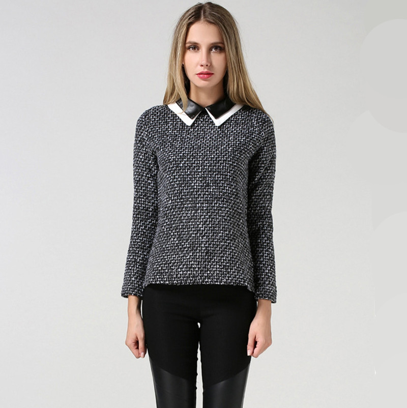 Womens Sweaters Fashion 2016 Autumn Lapel Thick Woolen Material Pullover Sweater Female Sweater Short Paragraph Xxl Pull Femme(China (Mainland))