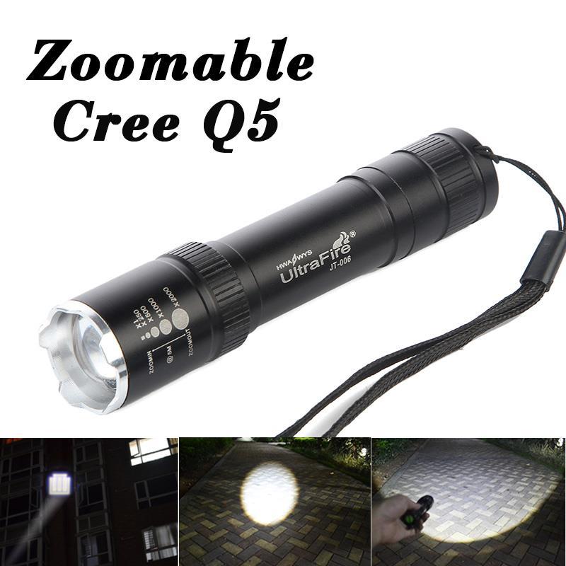 50% off CREE Q5 LED Flashlight Torch Lamp Light 3-Modes Zoom Tactical Flashlight 18650 Battery tacha penlight Waterproof(China (Mainland))
