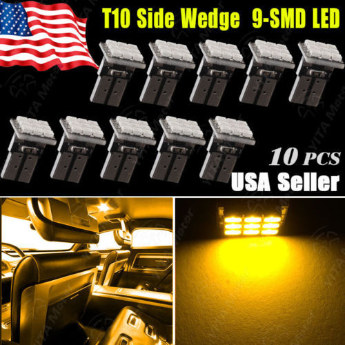 Wholesale Price Car led Light 10PCS Amber Yellow T10 Wedge 9-SMD LED Lights Lamps W5W 2825 158 192 168 External / Interior Bulbs(China (Mainland))