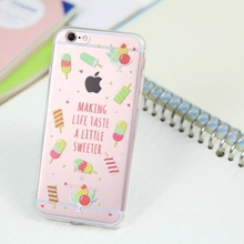 Ice cream Transparent Ultra Thin Soft TPU Mobile Phone Full Protective Shell Case Cover for iPhone5 5s 6 6s 6plus