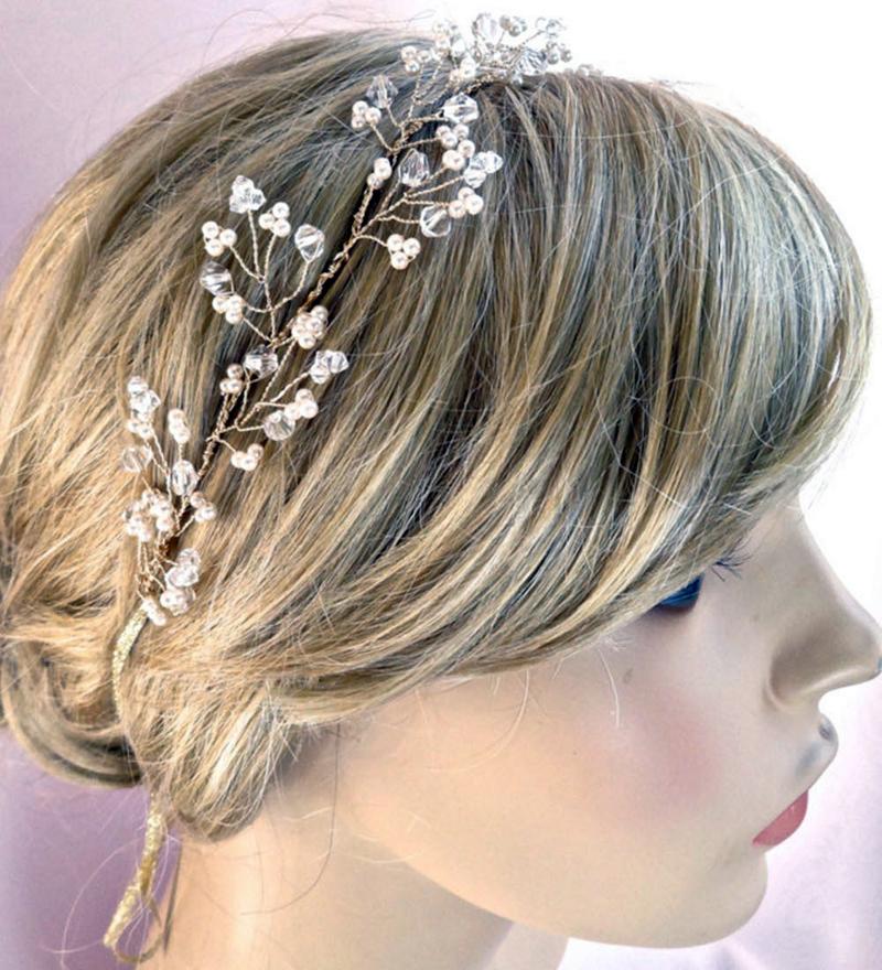 Beautiful!!! Luxury 100% Handmade Gold Crystal Tiara Bridal Wedding Headbands Headpiece Evening Prom Hair Comb Jewelry HCJ684(China (Mainland))