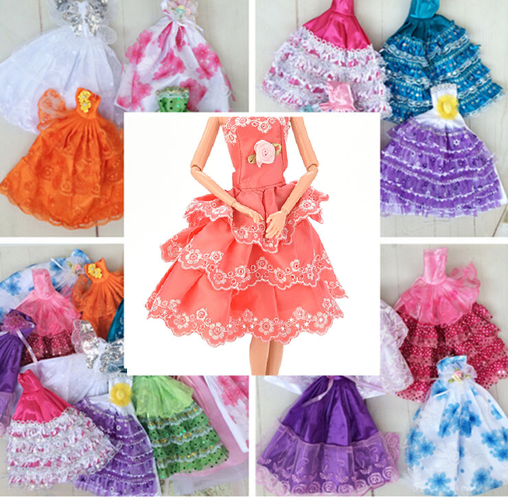 Cue Kids Children Toys Lovely Girl Gift Fashion Clothing Gown Hot Dolls Accessories New handmake wedding Dress 1Pcs(China (Mainland))