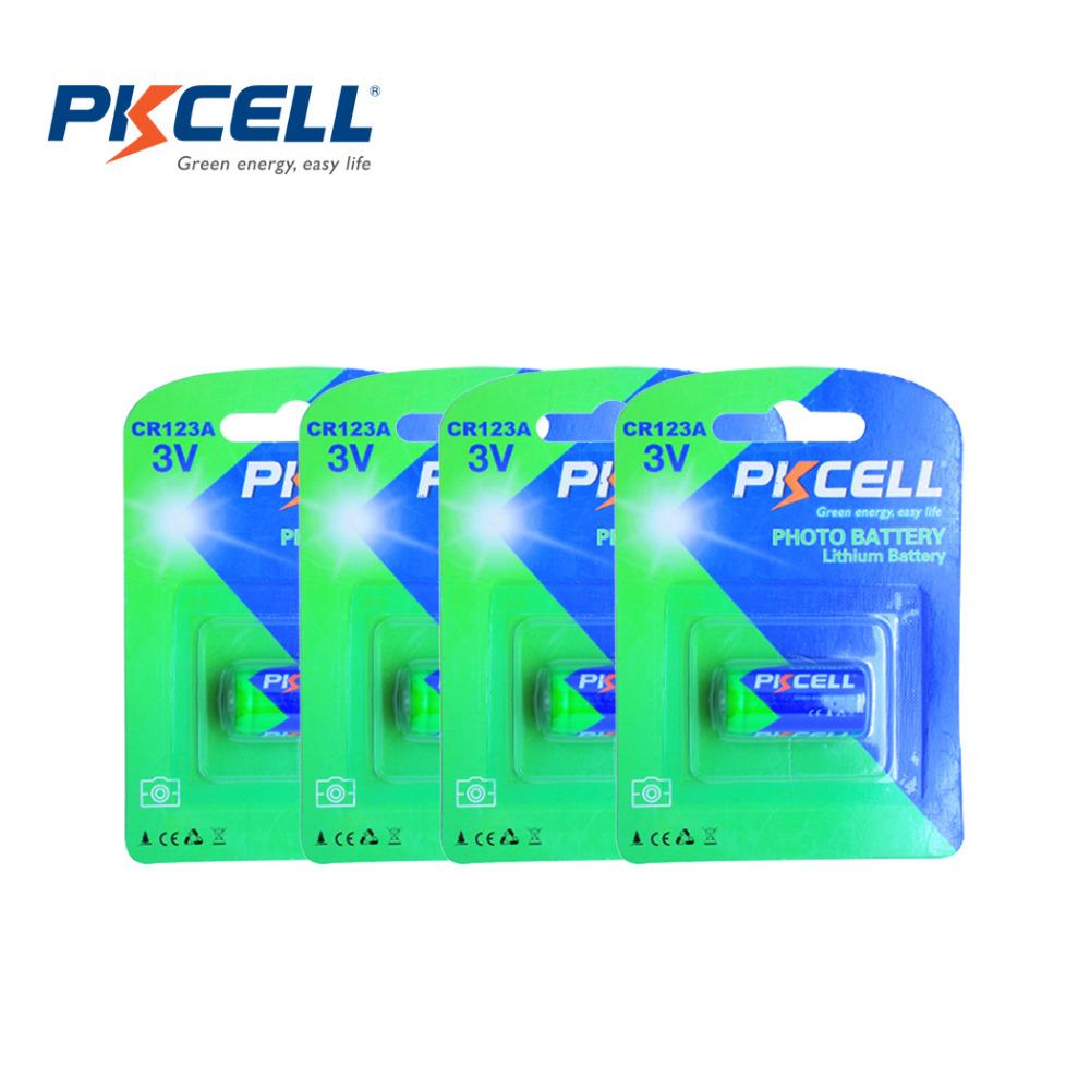 4Pack*PKCELL CR123A CR123 CR 123 123A 16340 CR17345 17345 1500mah 3V Lithium Battery(China (Mainland))