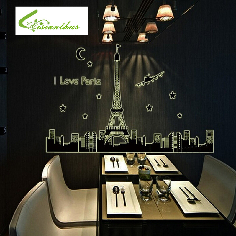 Paris Tower Silhouette DIY Fashion Luminous Fluorescent Stickers Combination Wall Sticker Bedrooms Background City Silhouette(China (Mainland))