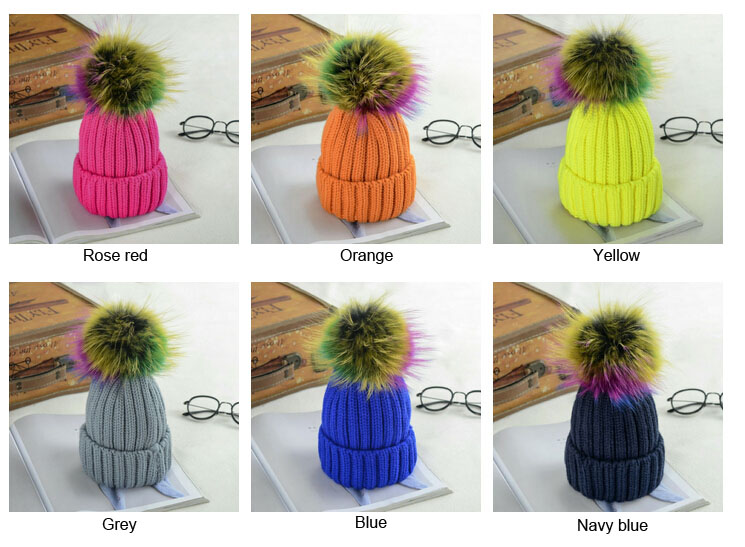 Colorful Ball Women Winter Warm Caps with Mink Fur Ball Cap Pompoms Hat for  Women Girl b320741a7356
