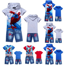 2016 new spiderman boys clothing sets,fashion summer kids t shirt jeans short clothes set,retail baby children outfits(China (Mainland))