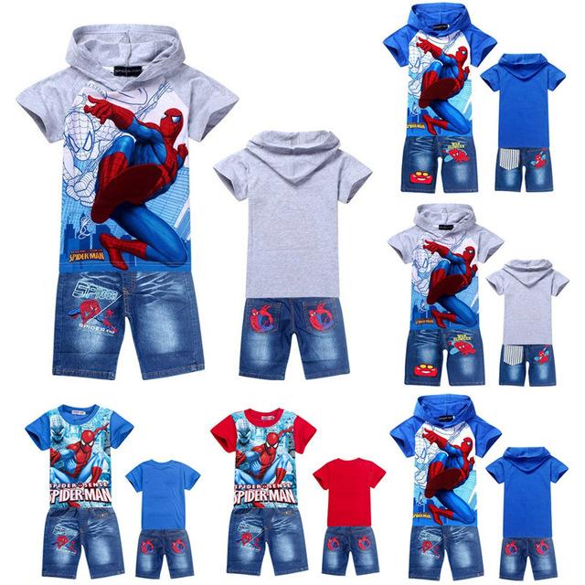 2016 новый человек-паук мальчики одежда наборы, мода лето дети футболка джинсы короткие ...
