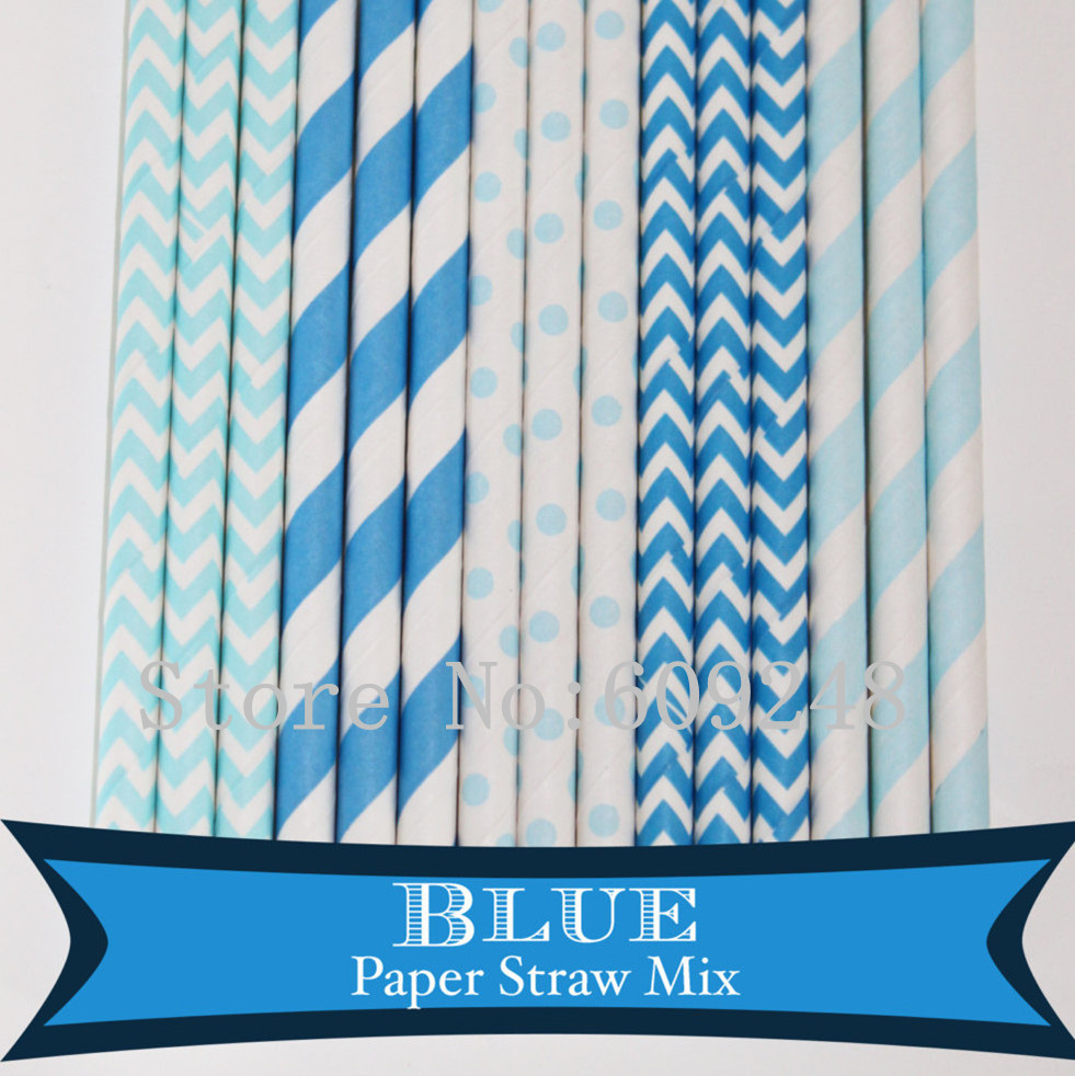 125pcs Mix Colors Blue Party Paper Straws,Light Blue Striped,Chevron,Swiss Dot,Blue Stripe,Zig Zag,Birthday Boy Baby Shower Bulk(China (Mainland))