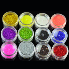 12 Color Mix UV Gel Glitter Dust Powder Nail Art Tip Decoration DIY Make Up Nail Beauty Decoration