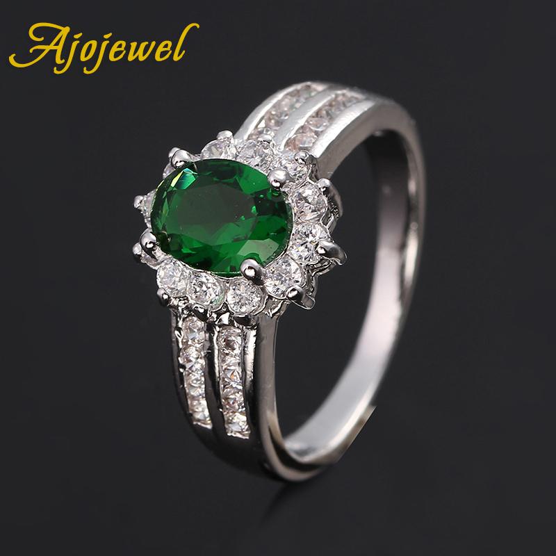 Ajojewel Brand Beautiful Jewelry Oval CZ Diamond 18K White Gold Plated Wedding Rings For Women Bijouterie(China (Mainland))