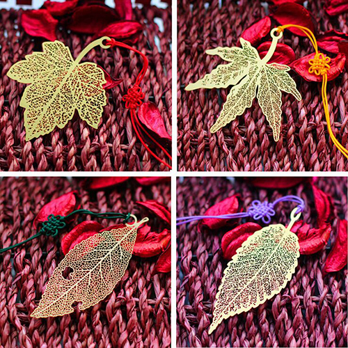 6pcs/lot Creative delicate gold metal bookmarks Vintage hollow out Leaf dragonfly book marks office School supplies gift(China (Mainland))