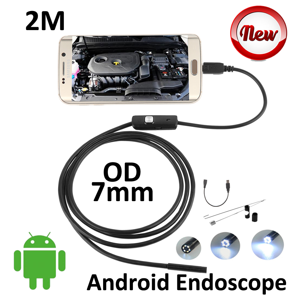 2M Micro USB Android Phone Endoscope Camera 7mm lens Snake Pipe Inspection Waterproof HD720P 6LED OTG USB Borescope Camera(China (Mainland))