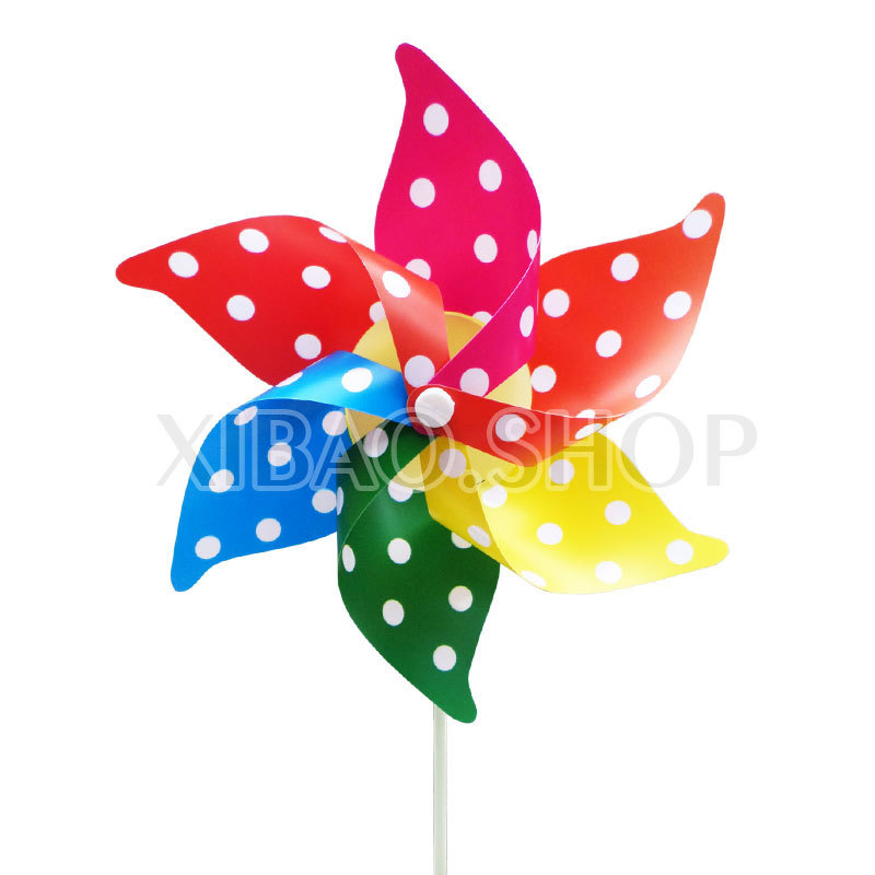 10piece/lot pvc 22*28cm Six-leaf dot Garden Windmill wedding decoration plastic toy for children gift wholesale Free shipping(China (Mainland))