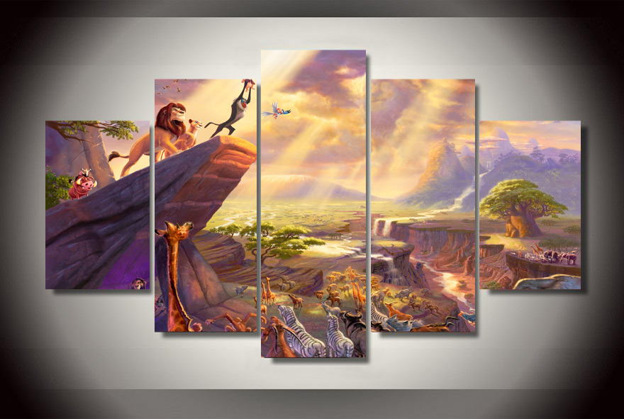 5Pcs NO Frame Printed lion king painting thomas Painting on canvas grey wall art print poster picture canvas Livingroom decorate(China (Mainland))