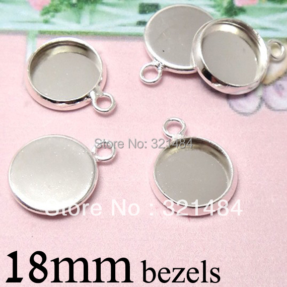 Bulk Silver plated Round Pendant tray bezel blank Cup Charm Findings, 18mm Cameo Base Settings w/ Horizontal Loop for Cabochons