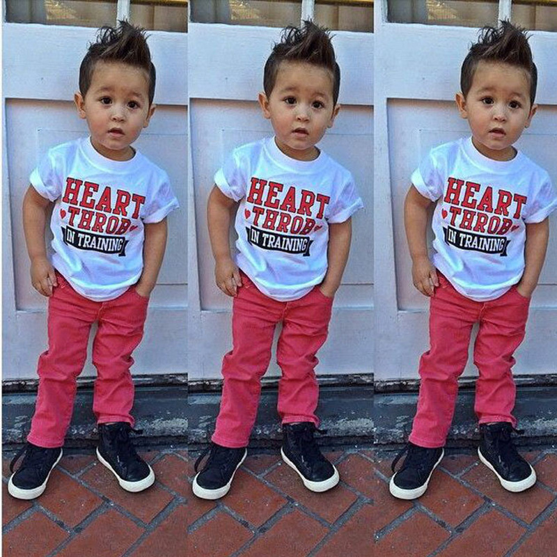 Summer Fashion Children Boys Clothing set Casual Letter T-shirt And Red Pants 2pcs Baby Boys Clothing set 1-7 Years Kids Clothes(China (Mainland))