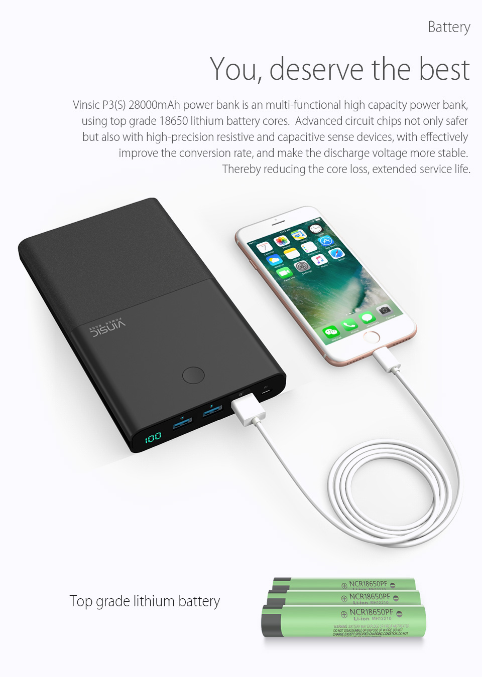 Vinsic 28000mAh Power Bank 18650 with QC 3.0 2.4A Dual USB Dual Way Quick Charger for iPhone X iPhone 8 8 Plus Xiaomi Samsung S7