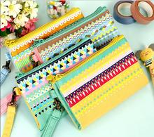 1pcs/lot THE times colorful striped double coin purses coin bag women wallets key case retail(China (Mainland))
