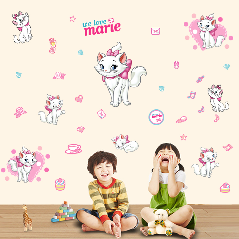 Cheap cute pink cartoon cat wall stickers baby room children's room sofa TV background wall decoration stickers girls bedroom(China (Mainland))