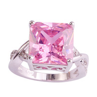 lingmei Wholesale Fashion Women Princess Pink Sapphire White Topaz 925 Silver Ring Size 6 7 8 9 10 Sweet Love Style Jewelry Gift