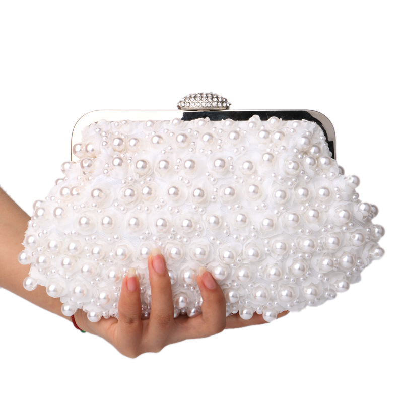 DHL Free Shipping Lace Rose Beaded Pearl Women Evening Bag Clutch Wedding Bridal Floral Imitation Handbags White Gold Wholesale(China (Mainland))