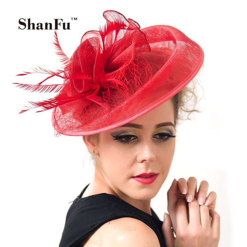 ShanFu Ladies Sinamay Wedding Fascinator Hats Elegant Bridal Cocktail Hats with Feather tocados sombreros bodas SFC2777(China (Mainland))