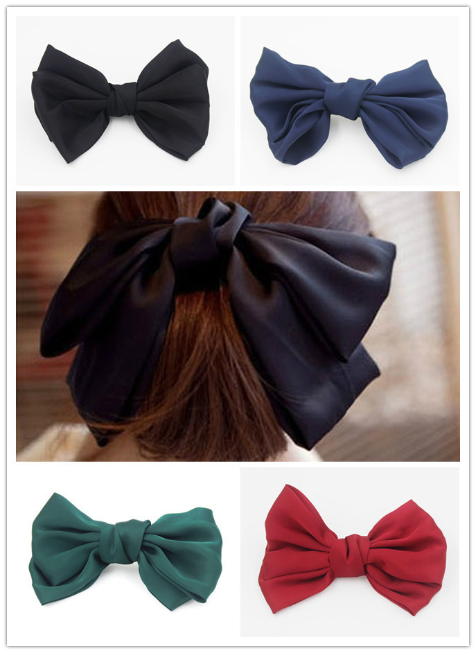 4 pcs/lot Large Big Huge soft silky hair bow clip lolita party oversize Handmade girl Freeshipping(China (Mainland))