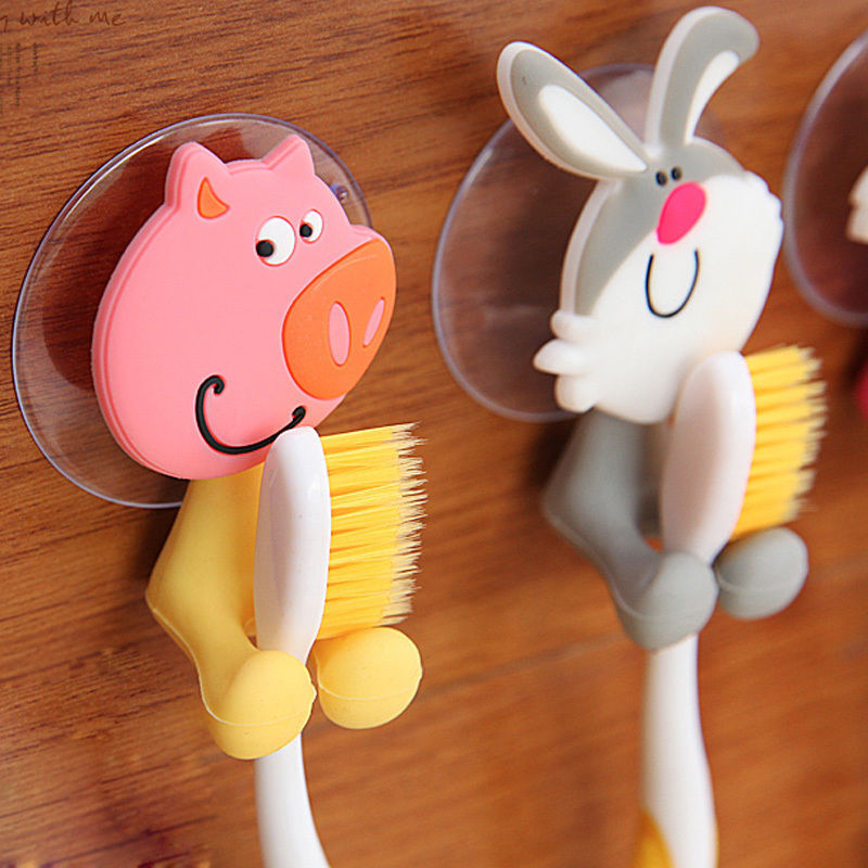Random Style!!1 PCS Animal Silicone Toothbrush Holder Family Set Wall Bathroom Hanger Suction(China (Mainland))