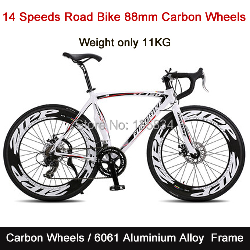 14 Speeds Carbon Wheels Road Bike 52 inch Cycling Double Disc Brake 88mm*23cm Width Tire only 11kg Road Bicycle Carbon Bike(China (Mainland))