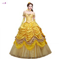 Ainiel Beauty and the Beast Princess Belle Cosplay Dress Long Yellow Dress for Women Custom Costume