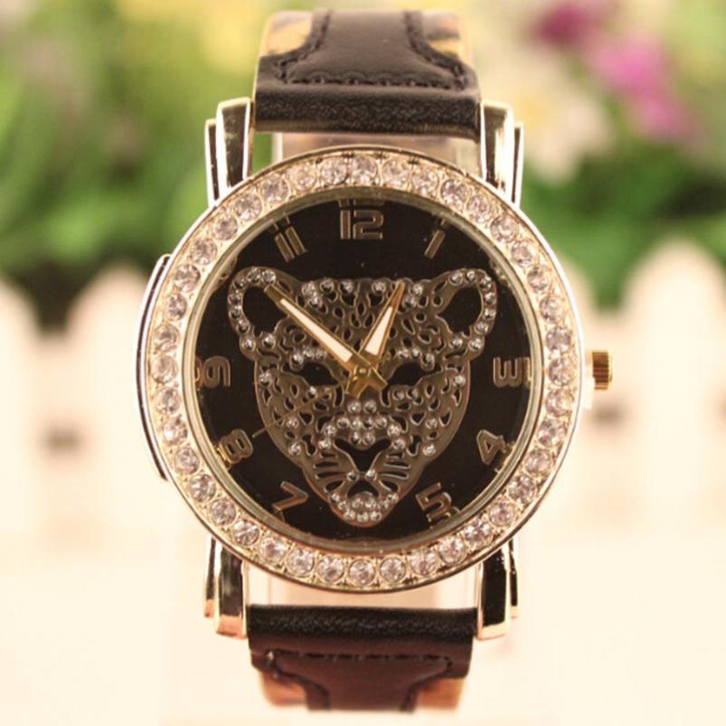 Splendid Sports Fashion Women Geneva Leopard Pattern Diamond Watch Quartz Wrist Watch Dress hour Leather relogio masculino<br><br>Aliexpress